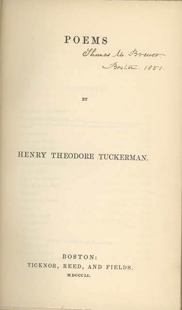 Poems. HENRY THEODORE TUCKERMAN.