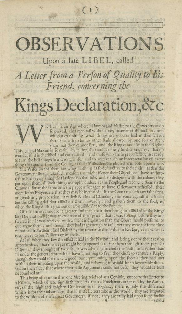 Observations Upon a Late Libel, Called a Letter from a Person of Quality to his Friend, Concerning the Kings Declaration, &c [caption-title]. GEORGE SAVILE, FIRST MARQUESS OF HALIFAX.