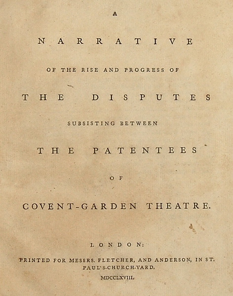 """The Proprietors' Dispute: A gathering of five important pamphlets dealing with the acrimonious dispute between two groups of partners of the Covent Garden Theatre - usually referred to as the """"Proprietors' Dispute."""". ENGLISH PLAYS, THEATER."""