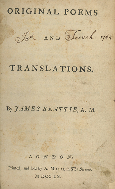 Original Poems and Translations. JAMES BEATTIE.