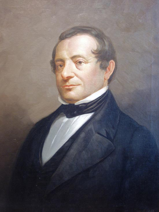 An oil portrait, signed by the artist, of Washington Irving. WASHINGTON IRVING, Charles A. Gray, Artist.