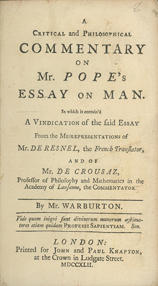 A Critical And Philosophical Commentary On Mr Popes Essay On Man  Pope