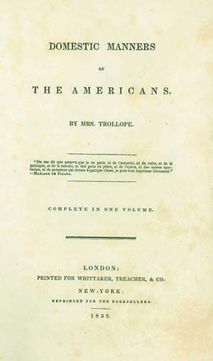 Domestic Manners of the Americans . . . Complete in One Volume. FRANCES TROLLOPE.