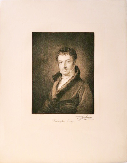 Engraved portrait of Washington Irving by Thomas Johnson after the portrait of Irving by Charles Robert Leslie, signed T. Johnson. WASHINGTON IRVING.