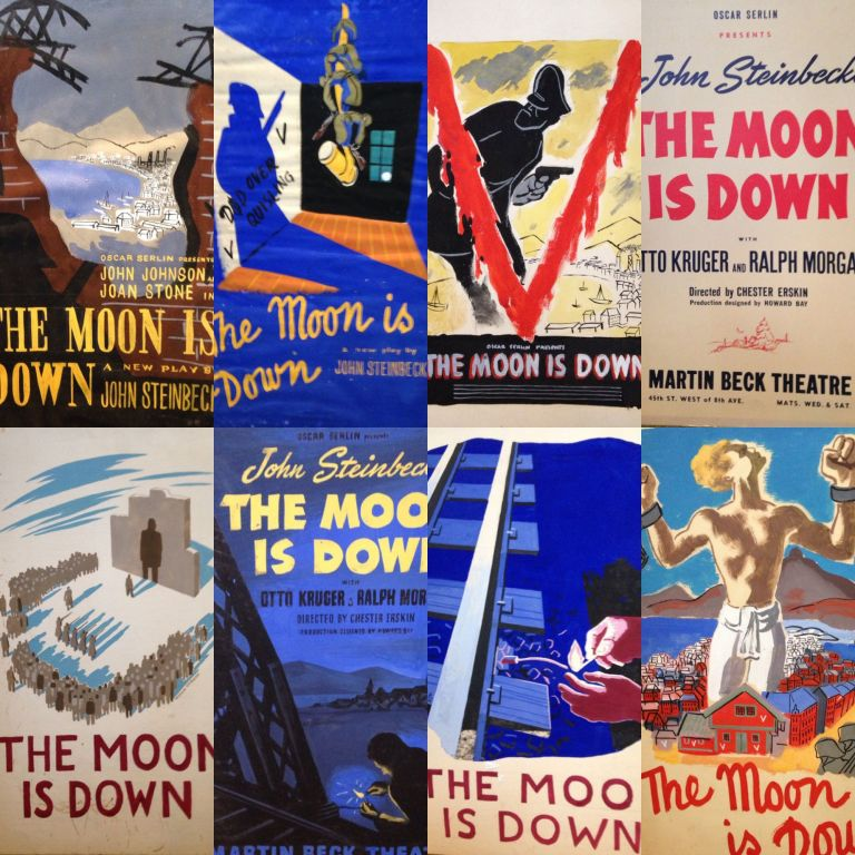 Eight original art works for different versions of a theater poster advertising Oscar Serlin's production of the Broadway debut of John Steinbeck's play The Moon is Down, New York, 1942. Together with one version of a printed poster. JOHN STEINBECK.