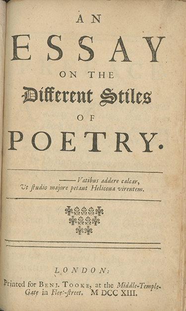 An Essay on the Different Stiles of Poetry. THOMAS PARNELL.