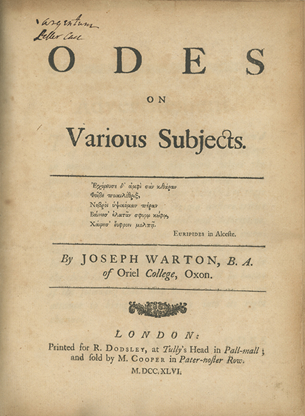 Odes on Various Subjects. JOSEPH WARTON.