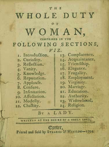 The Whole Duty of Woman . . . By a Lady. Written at the Desire of a Noble Lord. WILLIAM KENRICK.