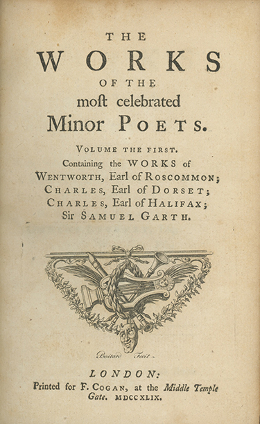 The Works of the Most Celebrated Minor Poets . . . New Before Collected and Published Together. In Two Volumes. [With:] Cogan, Francis, editor. A Supplement to the Works of the Most Celebrated Minor Poets . . FRANCIS COGAN.