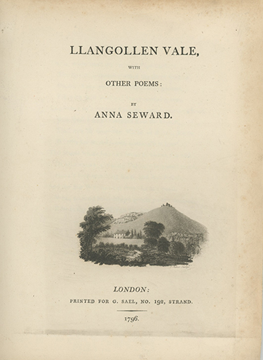 Llangollen Vale, with Other Poems. ANNA SEWARD.