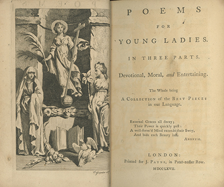 Poems for Young Ladies. In Three Parts. Devotional, Moral, and Entertaining . . OLIVER GOLDSMITH, COMPILER.