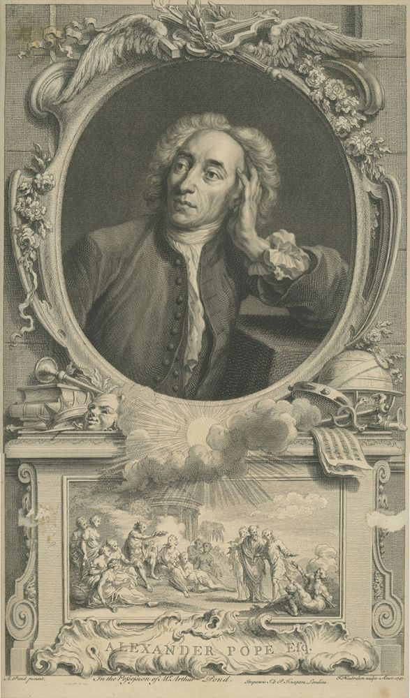 Original engraving of a portrait of Alexander Pope after a portrait by Arthur Pond, which is after the original by Jean Baptiste Van Loo. ALEXANDER POPE.