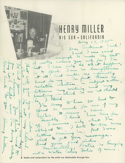 Holograph letter signed and dated May 14, 1945 on his Big Sur stationery with his photographc portrait as part of the letterhead. HENRY MILLER.