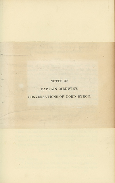 Notes on Captain Medwin's Conversations of Lord Byron. GEORGE GORDON BYRON, LORD, John Murray.
