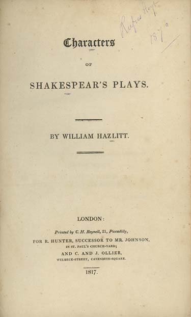 Characters of Shakespeare's Plays. SHAKESPEARE, William Hazlitt.