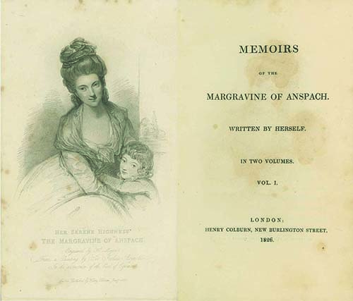Memoirs of the Margravine of Anspach. Written by Herself. LADY ELIZABETH CRAVEN, Lady Elizabeth (Later Margravine of Anspach LATER MARGRCraven.