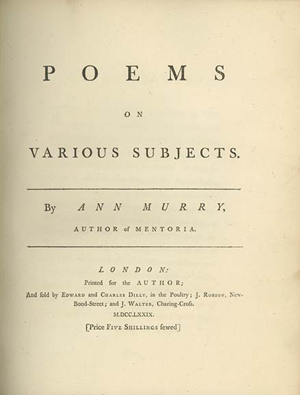 Poems on Various Subjects. ANN MURRY.