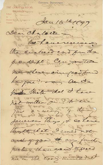 Two holograph letters and one note, signed and dated January 16, 1897, February 4, 1897 and January 5, 1912. WALT WHITMAN, Horace L. Traubel.