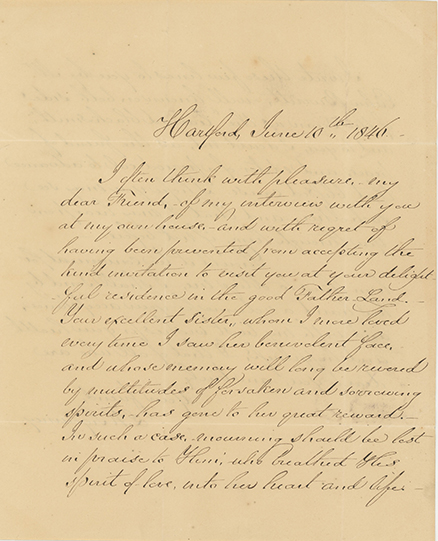 Holograph letter signed and dated Hartford, June 10, 1846, to Joseph John Gurney of Norwich, England. LYDIA HUNTLEY SIGOURNEY.