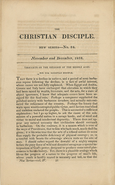 """Thoughts on the Religion of the Middle Ages"" [in] The Christian Disciple, Published Monthly. RALPH WALDO EMERSON."