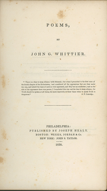 Poems. SLAVERY, John Greenleaf Whittier.