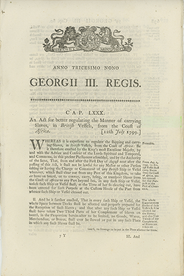 Anno Tricesimo Nono GEORGII III. REGIS. Cap. LXXX. An Act for Better Regulating the Manner of Carrying Slaves, in British Vessels, from the Coast of Africa [caption title]. SLAVERY.