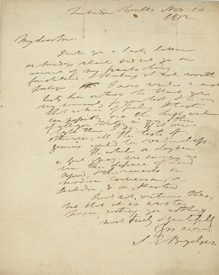 Holograph note signed and dated Tunbridge Wells Nov. 10, 1812, to poet and writer Robert Pearse Gillies. SIR EGERTON BRYDGES.