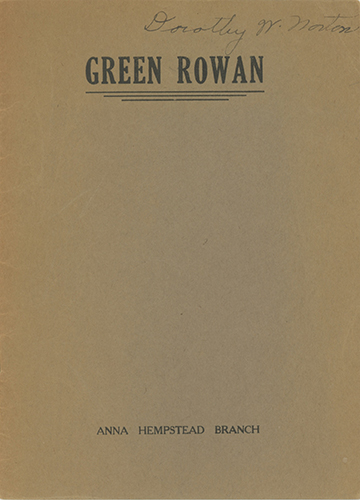 Green Rowan (Milk-Drinking Ceremony) [caption title]. ANNA HEMPSTEAD BRANCH.