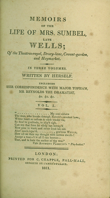 Memoirs of the Late Mrs. Sumbel, Late Wells; Of the Theatres-Royal, Drury-Lane, Covent-Garden, and Haymarket. Written by Herself. ENGLISH PLAYS, THEATER.