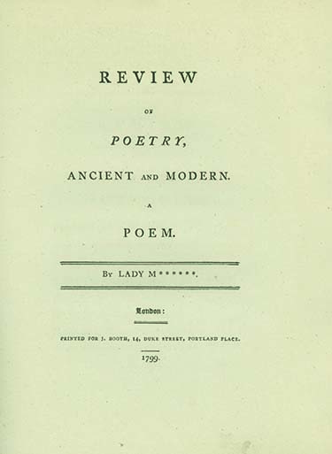 Review of Poetry, Ancient and Modern. A Poem. By Lady M******. CATHERINE REBECCA MANNERS, LADY.