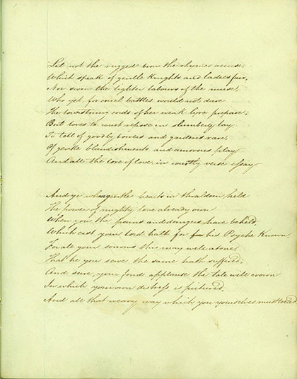 "Psyche / or / The Legend of Love / — Castos docet et pios amores. / Martial [Manuscript title underscored with a double line, below which is the annotation in another hand:] ""An Unpublished Poem by Mrs. H. Tighe."". MARY TIGHE."