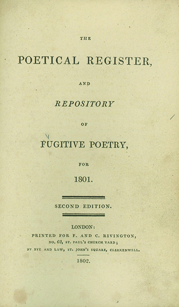 The Poetical Register and Repository of Fugitive Poetry, for 1801-1805. RICHARD ALFRED DAVENPORT.