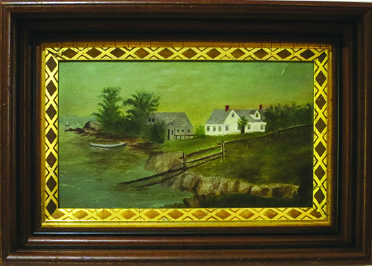 Small oblong oil painting on academy board, depicting the dwelling Harriet Beecher Stowe made famous in her novel The Pearl of Orr's Island. HARRIET BEECHER STOWE, Anonymous Artist.