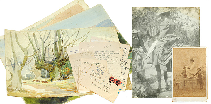 Original Sketches, Watercolors, Photographs, Correspondence, other Manuscript Material, Printed Ephemera and Contemporary Newspaper Reviews, of popular and prolific British Watercolorists Albert and Mary Stevens, who flourished between 1880 and 1925. ALBERT AND MARY STEVENS, ARTISTS.