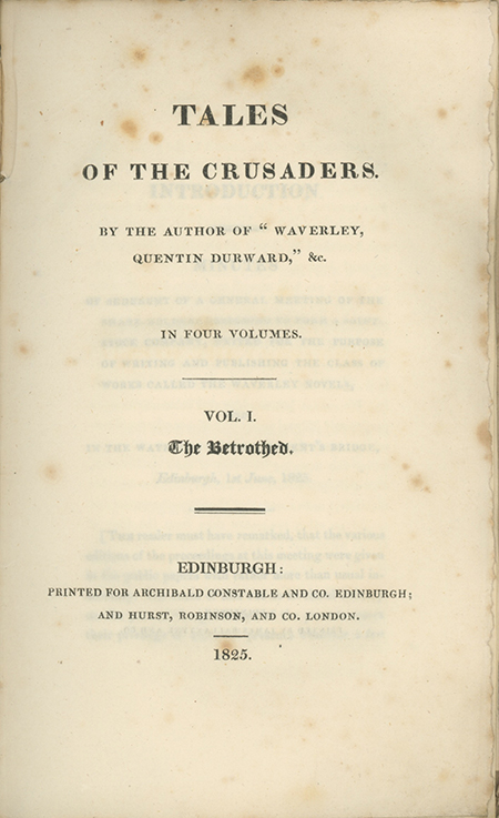 """Tales of the Crusaders. By the Author of """"Waverley, Quentin Durward,"""" &c. SIR WALTER SCOTT."""