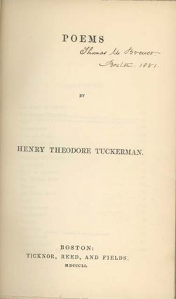 Poems. AMERICAN POETRY, Henry Theodore Tuckerman
