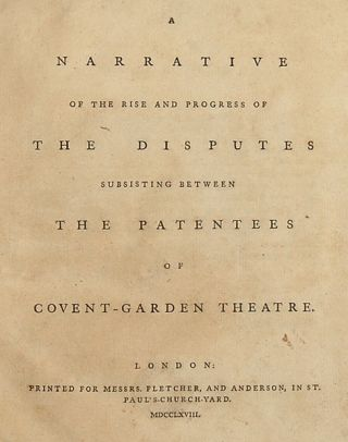 "The Proprietor's Dispute: A gathering of five important pamphlets dealing with the acrimonious dispute between two groups of partners of the Covent Garden Theatre - usually referred to as the ""Proprietors' Dispute."". ENGLISH THEATRE: 18TH CENTURY."