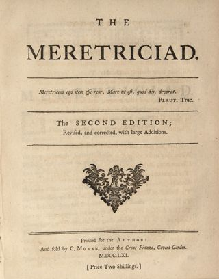 The Meretriciad. ENGLISH POETRY, Edward Thompson