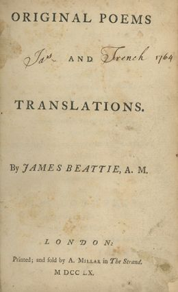 Original Poems and Translations. SCOTTISH LITERATURE, James Beattie