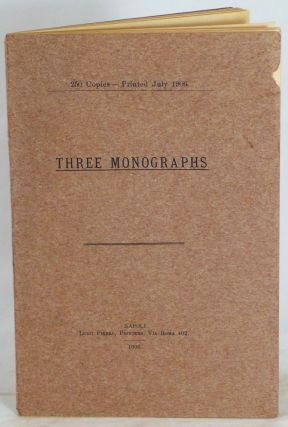 Three Monographs [cover title]. NORMAN DOUGLAS.
