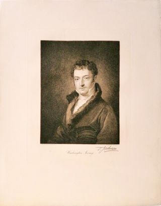 Engraved portrait of Washington Irving by Thomas Johnson after the portrait of Irving by Charles...