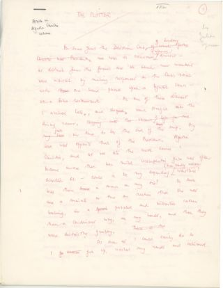 "Original holograph manuscript of the essay ""The Plotter,"" a critique of the work of fellow crime writer Agatha Christie. JULIAN SYMONS."