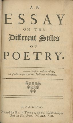An Essay on the Different Stiles of Poetry. THOMAS PARNELL