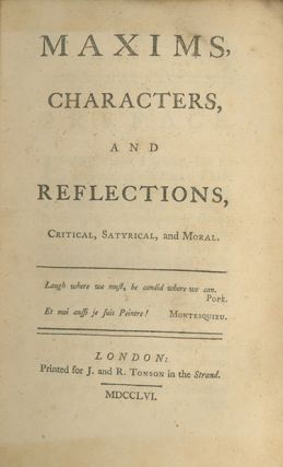 Maxims, Characters, and Reflections, Critical, Satyrical and Moral. FULKE AND FRANCES GREVILLE.