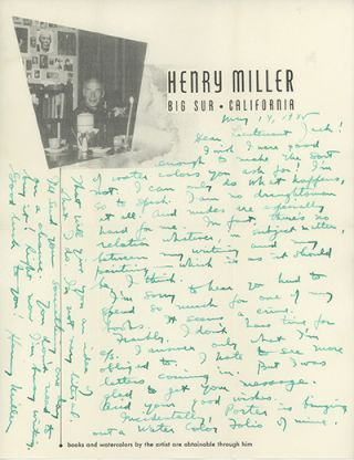 Holograph letter signed and dated May 14, 1945 on his Big Sur stationery with his photographc...
