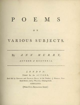 Poems on Various Subjects. ANN MURRY