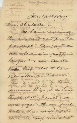 Two holograph letters and one note, signed and dated January 16, 1897, February 4, 1897 and...