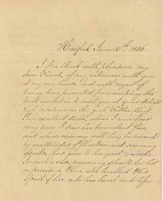 Holograph letter signed and dated Hartford, June 10, 1846, to Joseph John Gurney of Norwich,...