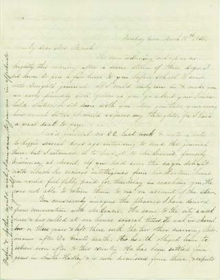 Original holograph letter signed and dated New York, Tuesday morning, March 19, 1851. WOMEN...