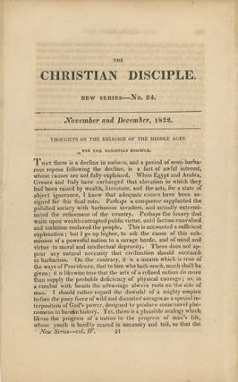 """Thoughts on the Religion of the Middle Ages"" [in] The Christian Disciple, Published Monthly...."